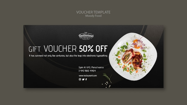 Moody food restaurant voucher template concept mock-up