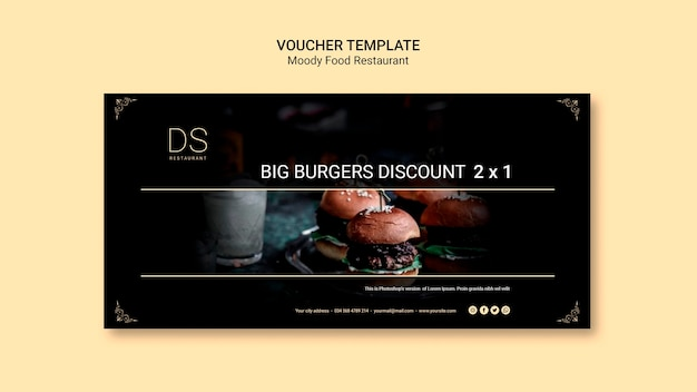 Moody food restaurant voucher template with photo