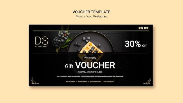 Moody food restaurant voucher template