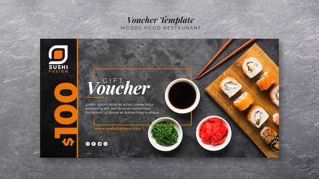 Moody food restaurant voucher template