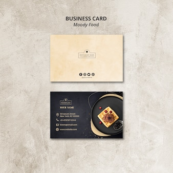Концепция визитной карточки ресторана moody food