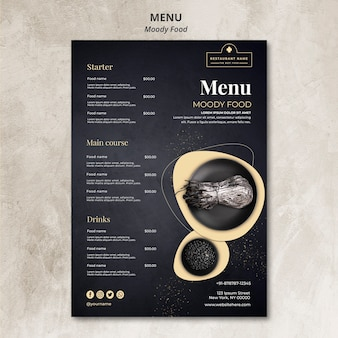 Концепция меню ресторана moody food
