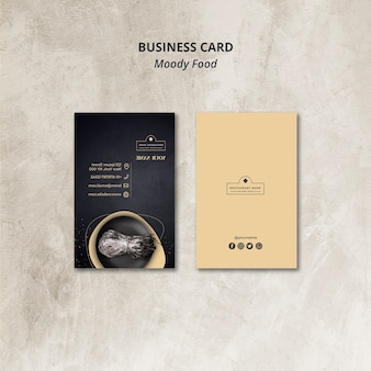 Moody food ресторан визитная карточка концепция макет