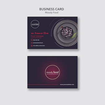 Шаблон креативной визитной карточки moody food