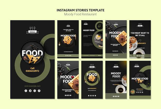 Шаблон истории инстаграм moody food