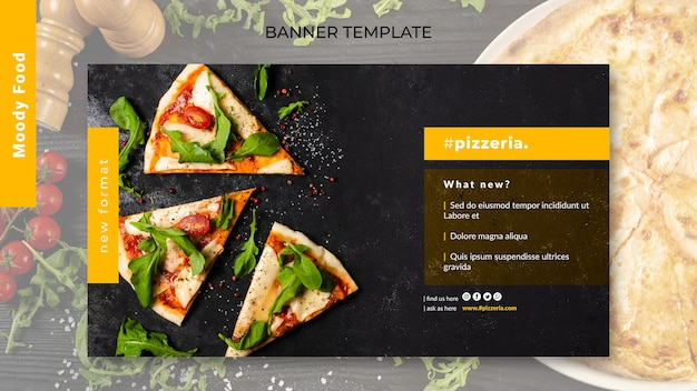 Moody restaurant food banner template mock-up