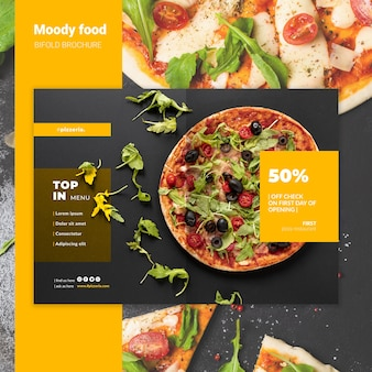 Moody restaurant food bifold brochure mock-up