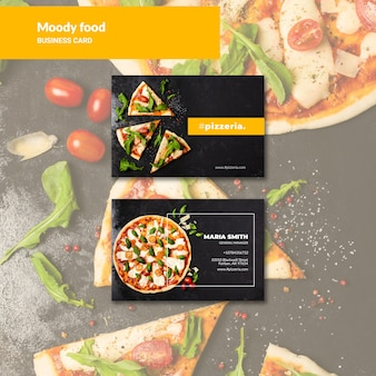 Moody restaurant food business card mock-up