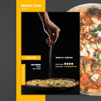 Moody restaurant food flyer mock-up