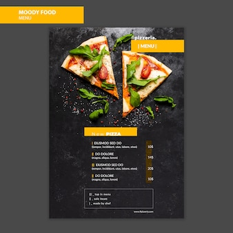 Moody restaurant food menu mock-up