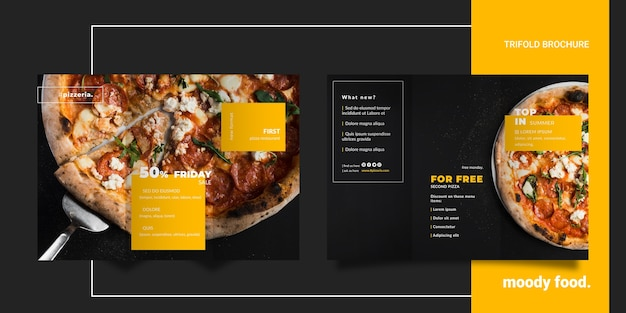 Moody restaurant food trifold brochure mock-up