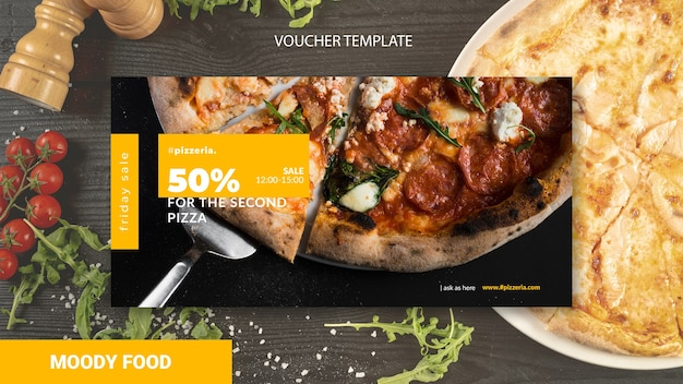 Moody restaurant food voucher template mock-up