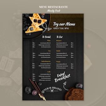 Макет концепции меню ресторана moody