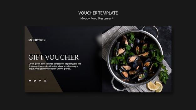 Шаблон ваучера для ресторана moody