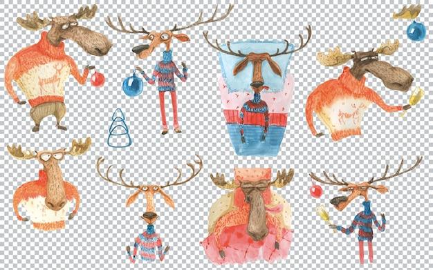 ムースと鹿はクリスマスを祝う準備をしています