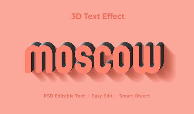 Moscow 3d text style effect template