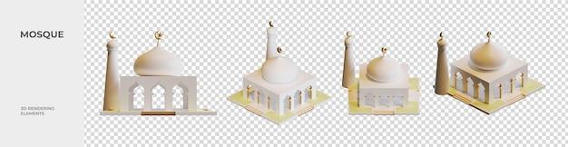 Mosque 3d rendering elements