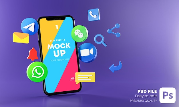 Most popular messaging communication apps with phones mockup