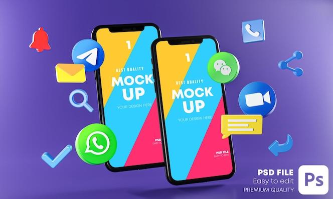 Le app di comunicazione di messaggistica più popolari con telefoni mockup