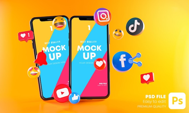 Le app di social media più popolari con mockup di telefoni