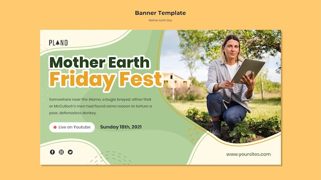 Mother earth day banner template with photo