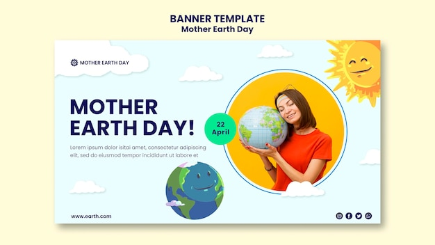 Mother earth day banner template