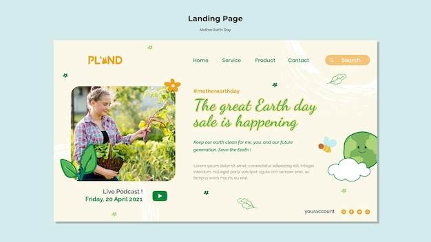 Mother earth day celebration landing page
