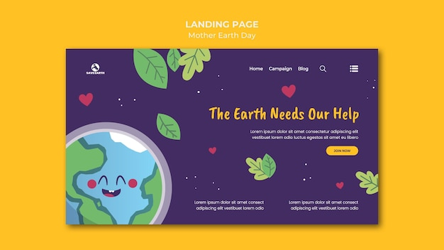 Mother earth day landing page