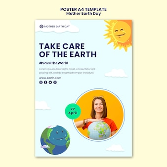 어머니 지구의 날 포스터 템플릿