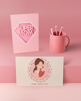 Mother's day card and mug with mock-up