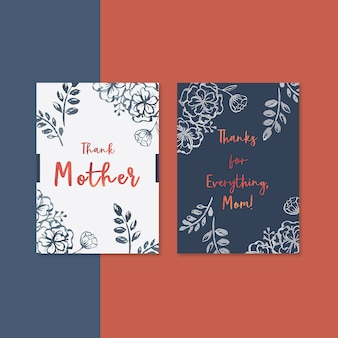 Mother's day card with contrast flowers
