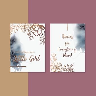 세피아 꽃과 함께 어머니의 날 카드