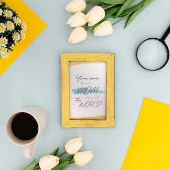 Mother's day mockup frame flowers