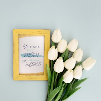 Mother's day mockup frame with tulips