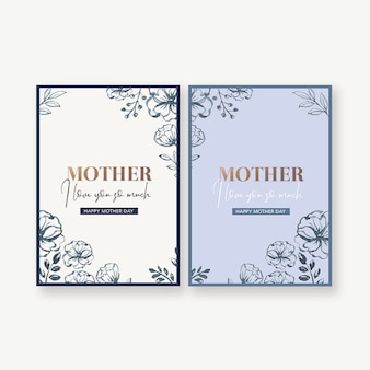 Mother's day simple and practical card with decorative flowers