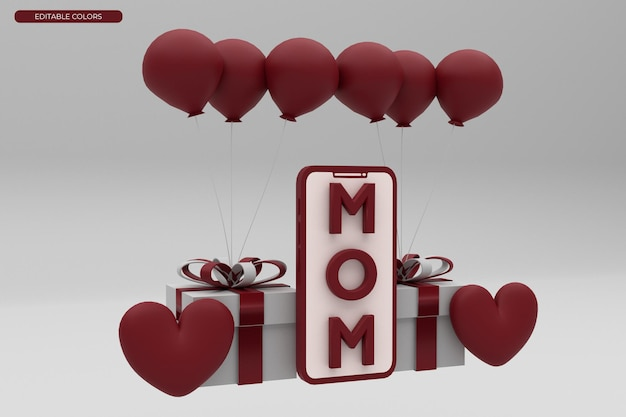 Mothers day 3d rendering