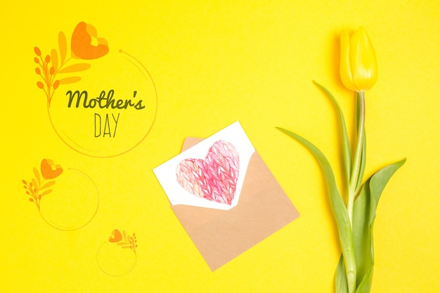 Mothers day card mockup with flowers