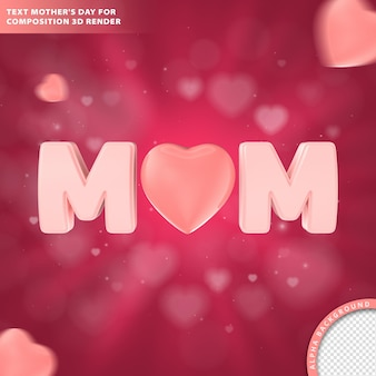 Mothers day greeting card. composition 3d render