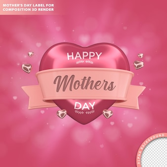 Mothers day greeting card. composition 3d render Free Psd