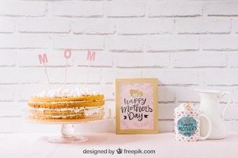 Mothers day mockup with cake and frame