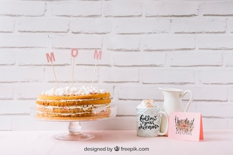 Mothers day mockup with delicious cake