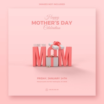 Mothers day template with gift box and 3d rendered text