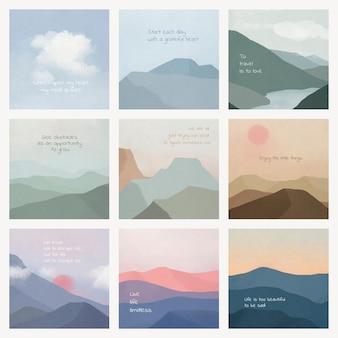 Motivational quote template psd on landscape background set