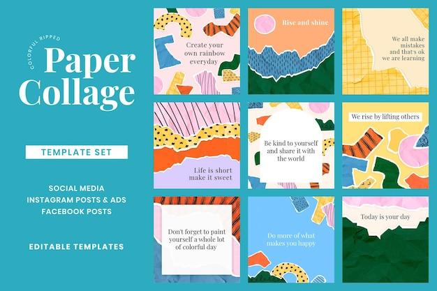 Post di social media motivazionali psd su sfondo collage di carta strappata