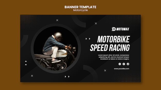 Motorbike speed racing banner template