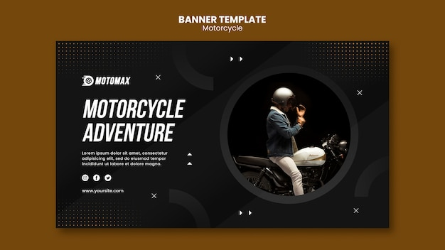 Motorcycle adventure banner template
