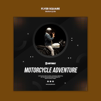 Motorcycle adventure flyer square