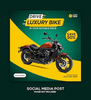 Motorcycle social media banner and instagram post template design