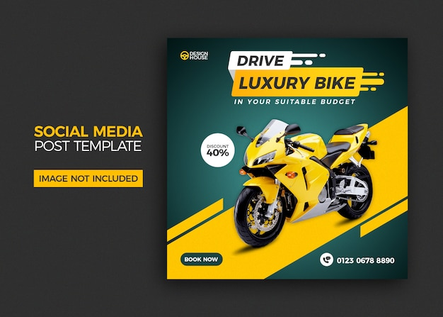 Motorcycle social media post template design