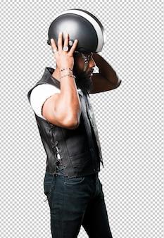 Motorcyclist man wearing helmet